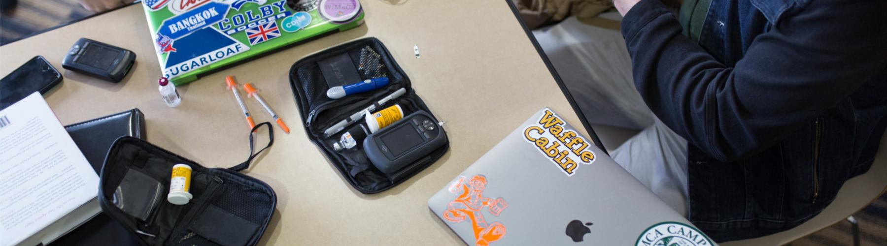 Desk with T1D supplies